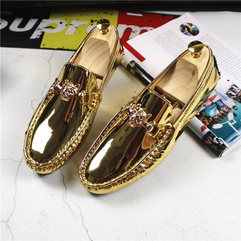 2019 Fashion Young Casual Loafers Shoes Large Size 47 48 Patent Leather Handmade Men Shoes Rubber Non-Slip Driving Men Footwear
