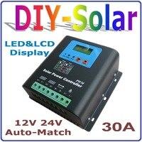 30A regulator ładowania słonecznego 12 V 24 V auto praca, Panel słoneczny Bateria 30A Regulator 12 V 24 V Wyświetlacz LCD Podwójny Solar system Wejścia