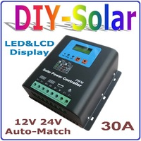 30A solar charge controller 12V 24V auto work, Solar Panel Battery Controller 30A 12V 24V LCD Display Dual Solar Input system