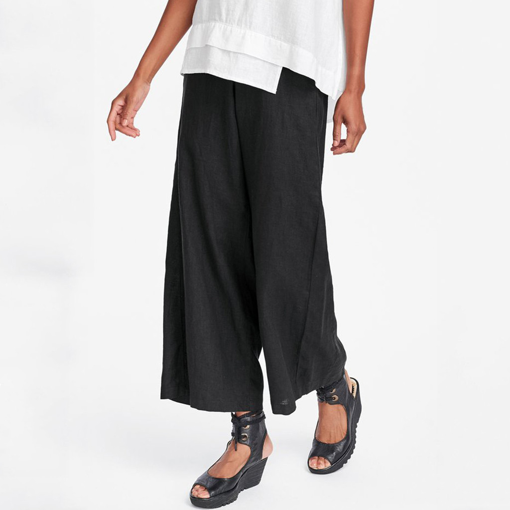 2019   Wide     Leg     Pants   Harem Female Trousers Casual Fashion Solid Cotton And Linen Vintage Casual Trouser Ankle-Length   Pants   Z059