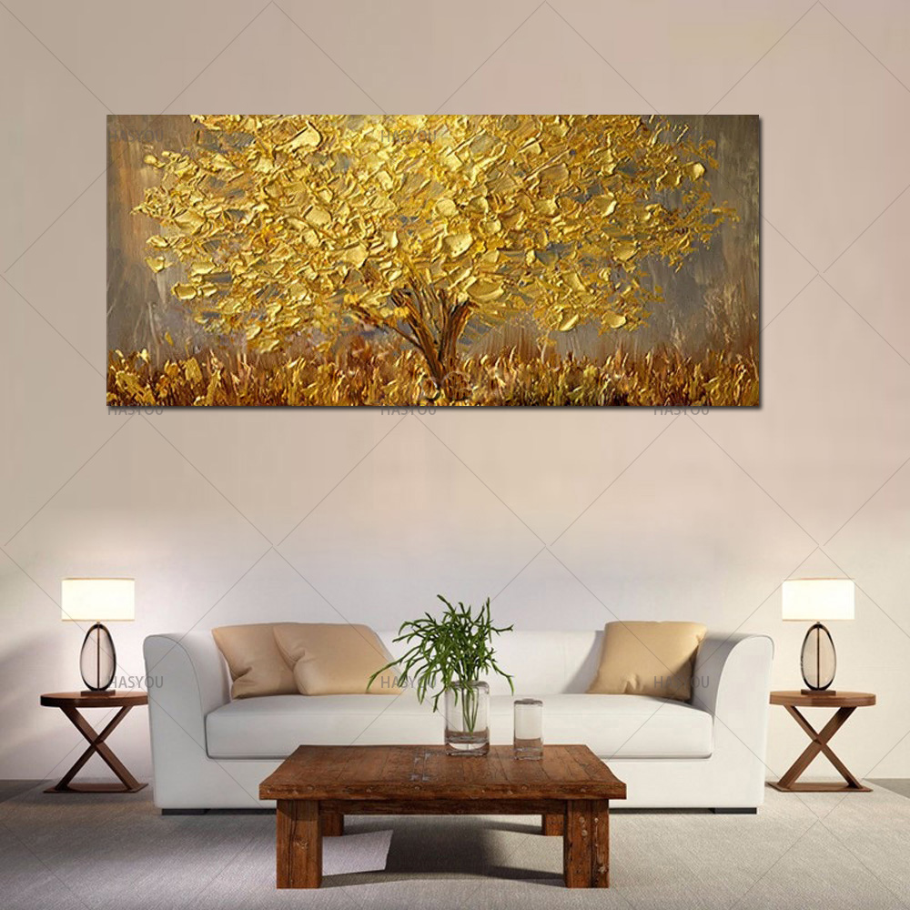 Hand Painted Knife Gold Tree Oil Painting On Canvas Large Palette 3D Paintings For Living Room Modern Abstract Wall Art Pictures