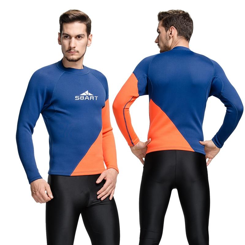 d9d5d8df37 Sbart 2mm neoprene wetsuit tops man rashguard swim shirts men long swim  shirt thermal swim top
