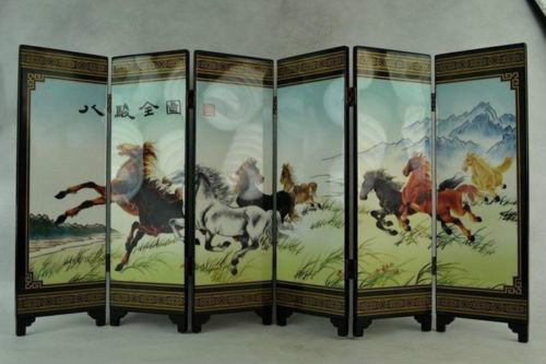 Rare Collectibles Old Decorated Hand Lacquer Painting 8 Horse Run Noble Screen