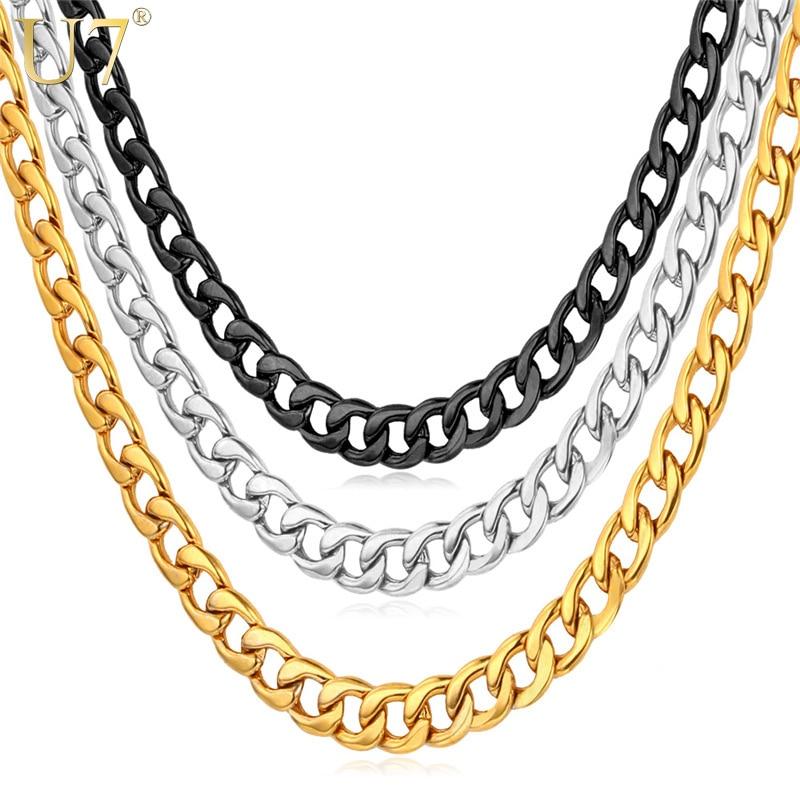 U7 Cuban Gold Color Chain For Men Hip Hop Jewelry Wholesale 5MM Black Stainless Steel Curb Chain Necklace N396 гарнитура pioneer se cl502t k вкладыши черный проводные