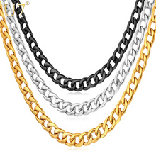 U7 Cuban Gold Color Chain For Men Hip Hop Jewelry Wholesale 5MM Black Stainless Steel Curb Chain Necklace N396
