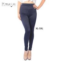ERAEYE Women high elastic large size XL- 5XL stripe leggings mid waist slim skinny casual capris ankle length trousers cut pants