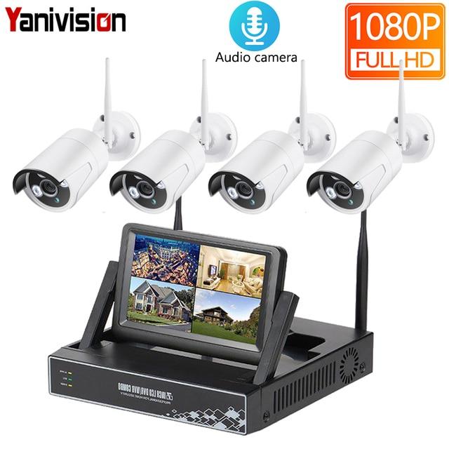 كاميرا مراقبة فيديو لاسلكية HD 1080P 4CH لاسلكية NVR CCTV 2MP الصوت في الهواء الطلق تسجيل واي فاي IP طقم مراقبة فيديو 7 بوصة LCD