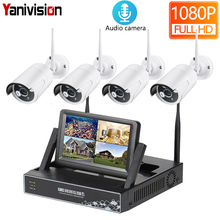 HD 1080P 4CH Wireless NVR CCTV System 2MP Outdoor Audio Recording WiFi IP Camera Security Video Surveillance Kit 7 inch LCD