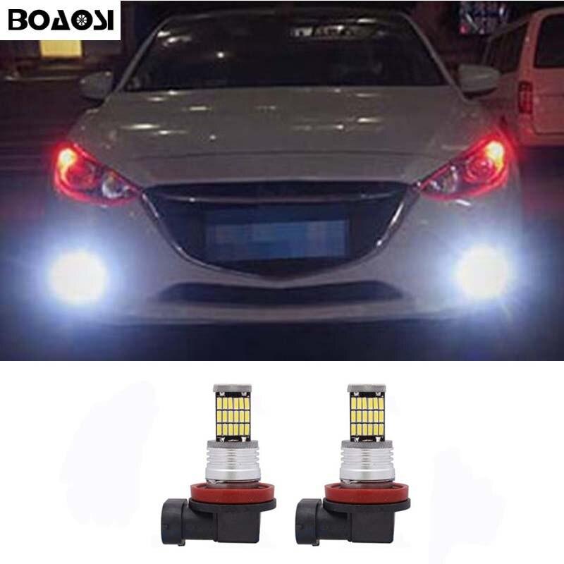 BOAOSI 2x Super White H8 H11 CREE Chip LED Fog Light Driving Bulbs Error Free For mazda 3 5 6 xc-5 cx-7 axela atenza