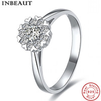 INBEAUT Queen 925 Sterling Silver SONA Zircon Stone Love Heart Wedding Ring for Women Luxury Brand Engagement Icon Rings