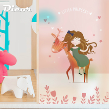 Pink Princess Series Dicor Brand Window Sticker For Girl Room Opaque Frosted High Quality Privacy Film Digital Inkjet No Fade