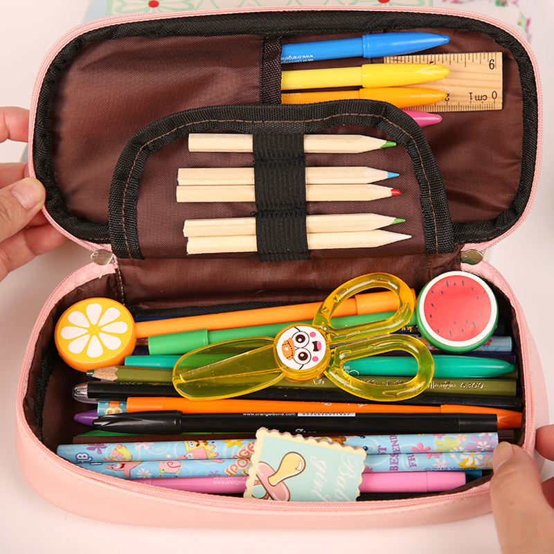 Kawaii Pencil Case Large Capacity PU Leather Pencil Bag School Supplies Sweet Summer Candy Color Stationery Box Gift Pen Holder in Pencil Cases from Office School Supplies