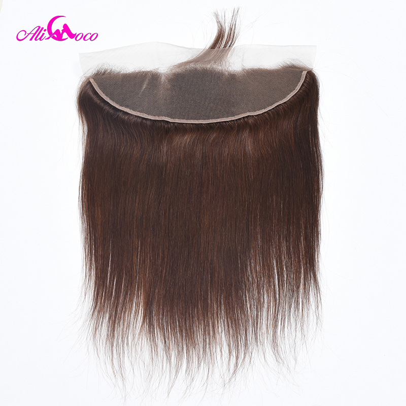 Ali Coco Straight Hair Lace Frontal Color 4 13X4 EarTo Ear Lace Frontal Closure 100 Human