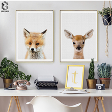 Lovely Animal Art Posters and Prints Little Deer Wall Canvas Painting Fox Pictures For Children Room Home Decoration