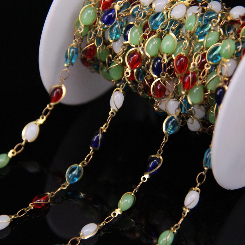5Meters,Colorful Glass Rice bead Chain,4x6mm Mixed Gems Bezel Connector Brass Wire Wrapped Rosary Chain,Fashion Bracelet Earring pdrh010 colorful glass bead classic bracelet