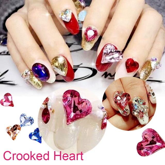 10pcs fashion big Crooked Heart crystal bling bright love heart nail ...