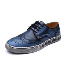 BIMUDUIYU 大サイズ 春秋の新流行の靴の品質本革ソフトカジュアル紳士ブローグスタイルメンズの靴 38-48