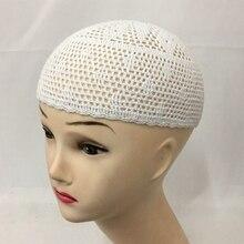 2 قطعة/الحقيبة الرجال مسلم اليدوية محبوك القطن skullcap قبعة الإسلامية الأبيض محيط 44 سنتيمتر