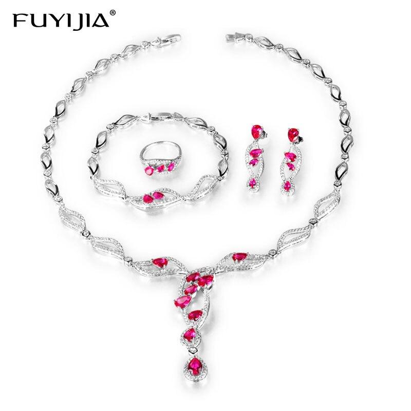 FUYIJIA 18 K or Fourpiece ensemble de bijoux femmes de luxe environnement bijoux collier ensemble Dubai ensembles de bijoux ensembles de bijoux de mariage