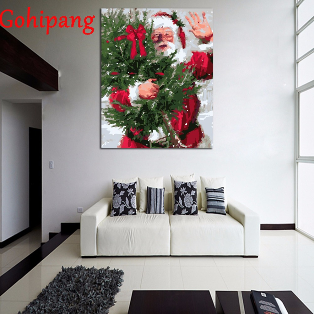 Framed DIY oil painting by numbers On Canvas unique Christmas gift craft DIY Coloring by Numbers with frame Santa Claus