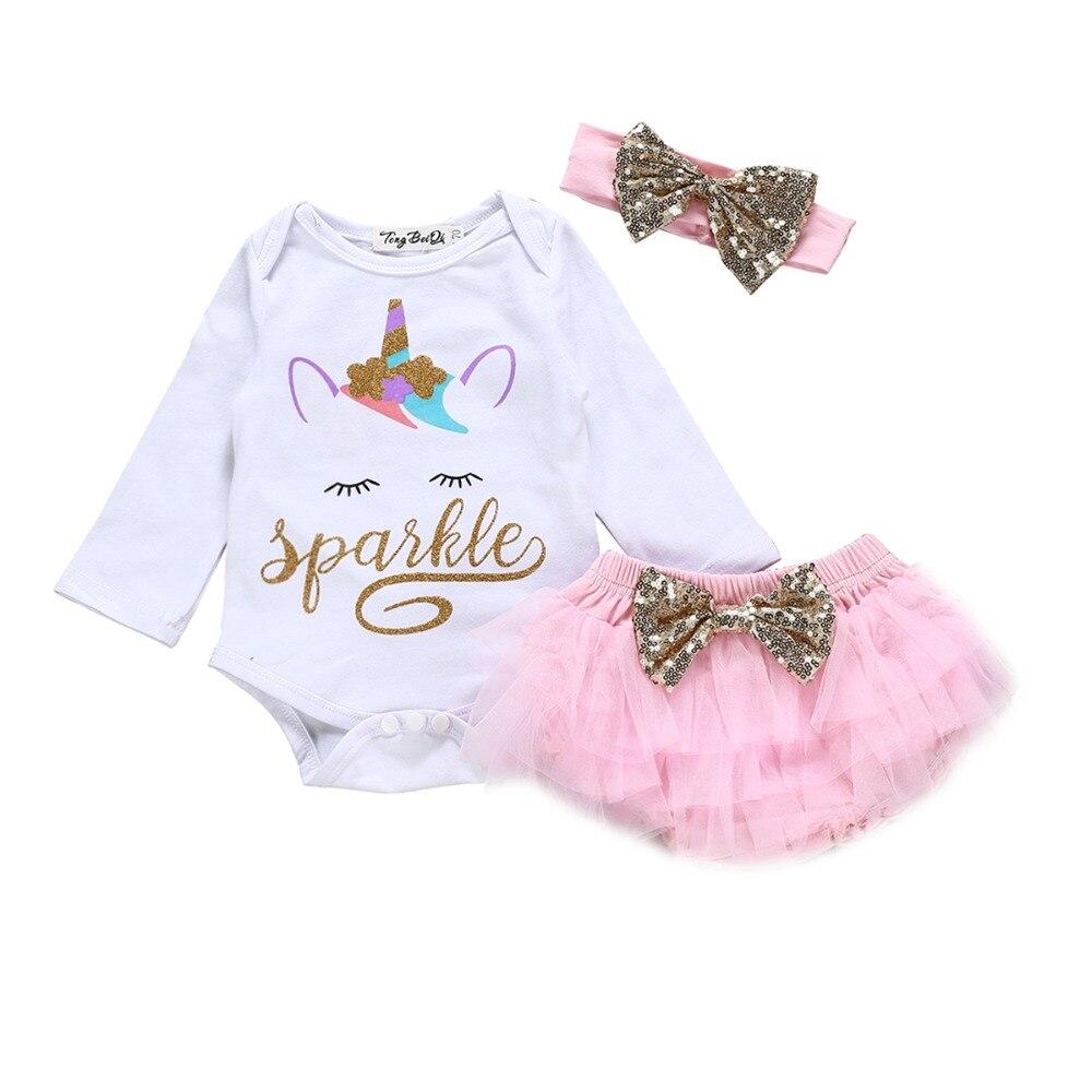 Newborn Baby Girls Clothes Sets Unicorn Print Tops Romper Shorts Headbands 3pcs Cute Summer Outfits Infant Girl Clothing Set