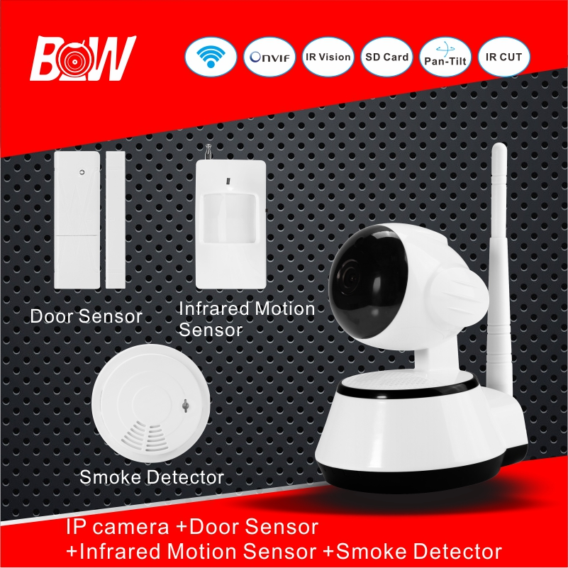 720P Megapixel HD Surveillance IP camera WiFi Door Sensor Infrared Motion Sensor Smoke Detector Night Vision AHD Camera BW14 720p hd ip camera security door sensor infrared motion sensor smoke gas detector wifi camera monitor equipment alarm bw13b
