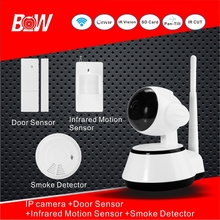 720 p megapixel hd ip cámara de vigilancia wifi puerta sensor de infrarrojos motion sensor detector de humo visión nocturna cámara ahd bw14
