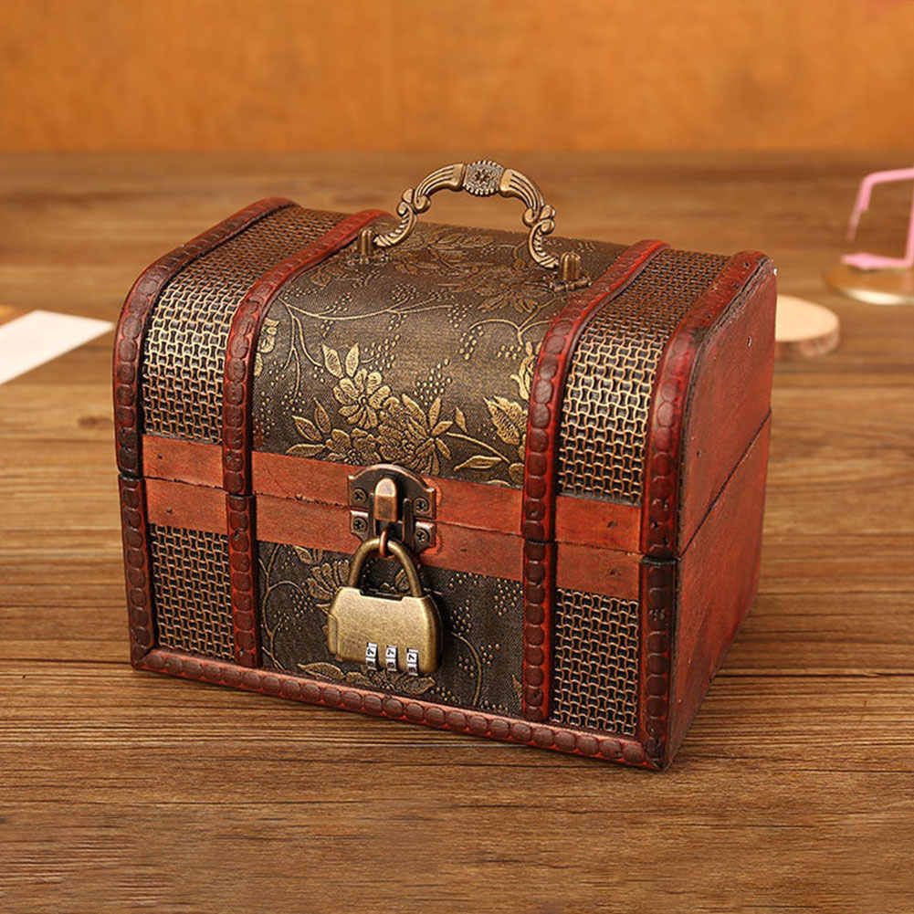 Vintage Retro Wood Box With Lock Storage Container Box Trinket Jewelry Bracelet Pearl Ring Wooden Treasure Case Chest Organizer
