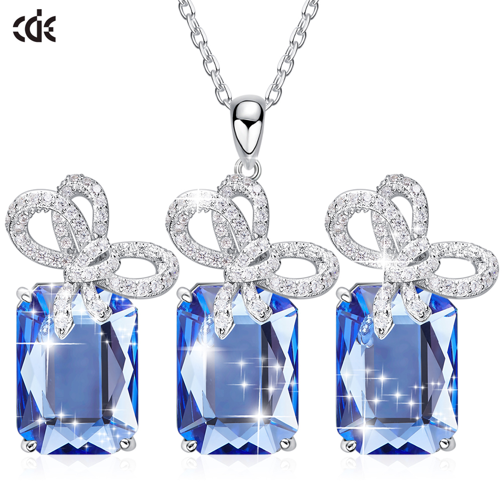 CDE Silver 925 Jewelry Sets Embellished with crystals from Swarovski Geometric Necklace Earrings Set Insert Jewelry