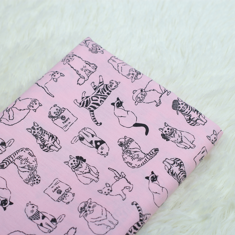 100 140cm cartoon cat cotton fabric patchwork tissue cloth for Children s cotton dress fabric
