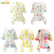 Купить с кэшбэком Cute Small Dogs Pajamas For Pet Dog Cat Clothes Puppy Jumpsuit For Dog Coat For Chihuahua Pomeranian Dogs Print Clothing Shirt