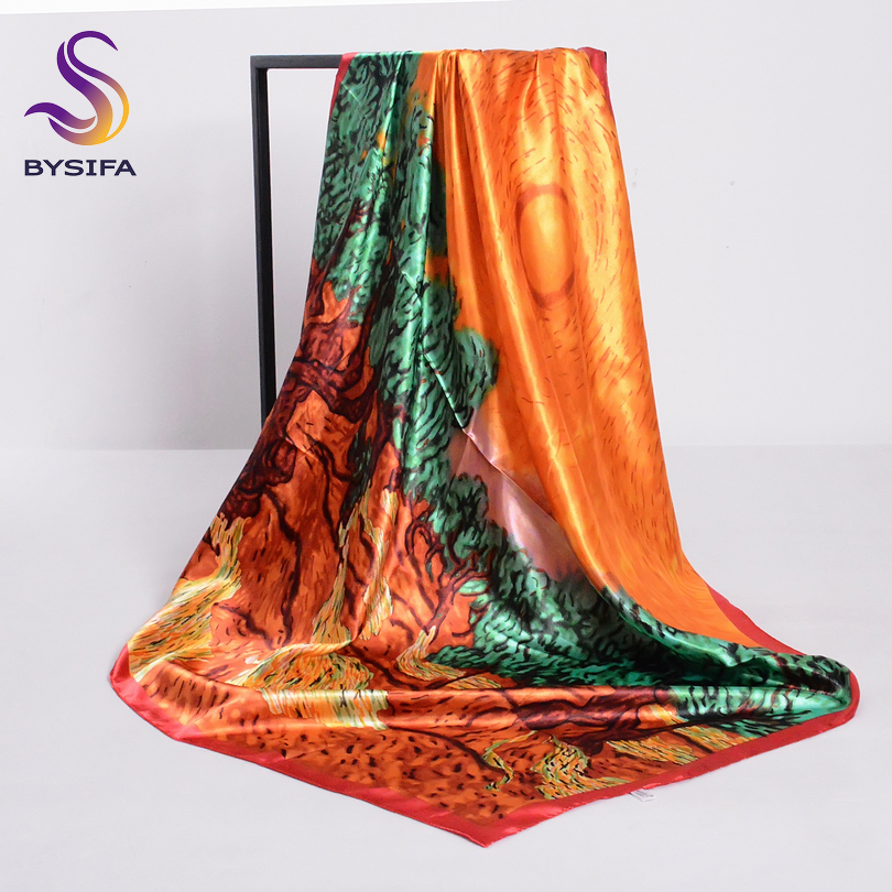 Spring Orange Ladies Silk Scarf Shawl New Arrival Sunrise Design Large Square Scarves Wraps 90*90cm Muslim Head Scarf Cachecol