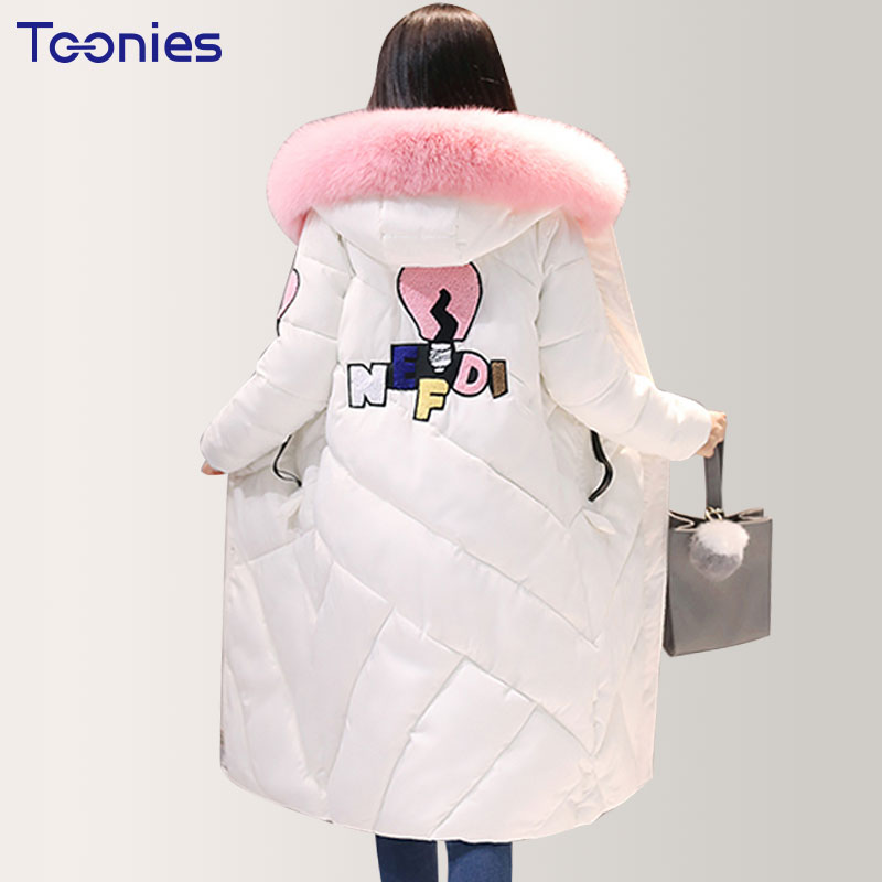Cotton Coats 2017 Winter Women Warm Thick Hooded Long Coat Jackets Outwear Overcoat Cotton Padded Fur Collar Parkas Plus Size