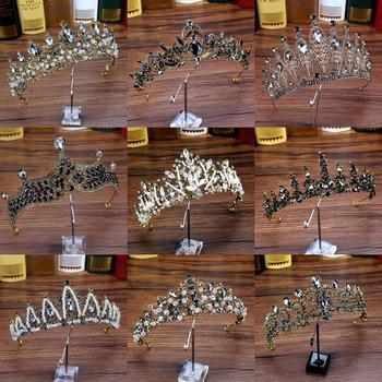 Vinatge barroco, accesorios nupciales de lujo para el cabello, corona negra y...