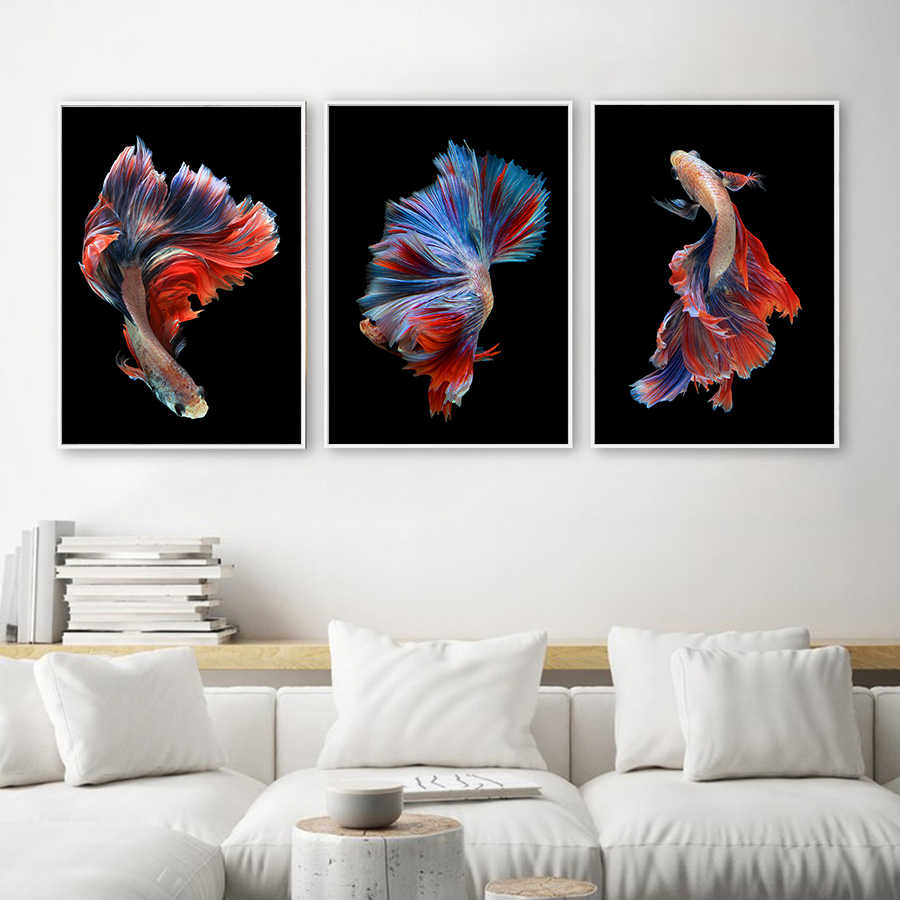 Hand Painted Koi Fish Wall Art Canvas Oil Painting Abstract Animal Posters and Prints Nordic Living Room Wall Pictures Pop Art