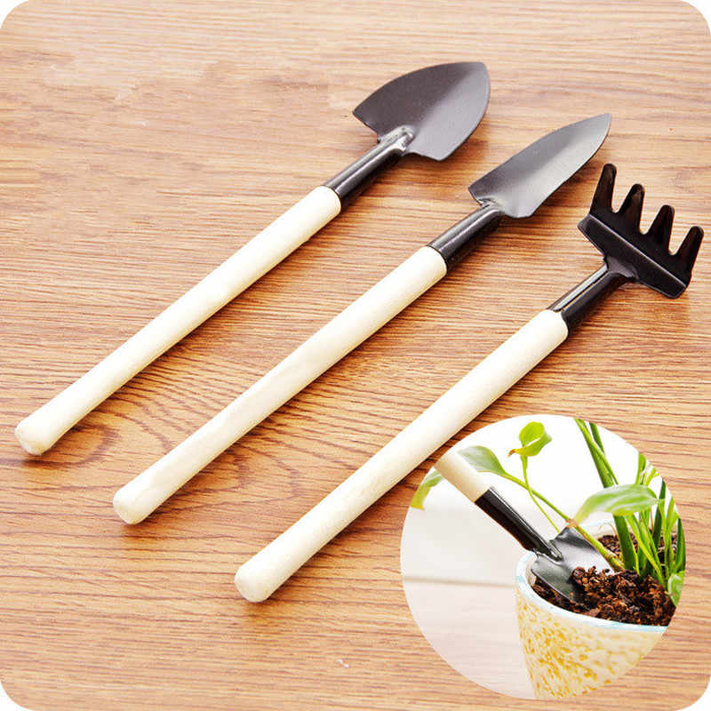 3 Pcs/set Mini Spade Shovel Harrow Flowerpot Tools Potted Plants Maintenance Wooden Handle Plant Soil Shovels Gardening Tools