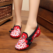 Hot sale new spring Vintage Canvas Flats Shoes Phoenix embroidered shoes comfortable Beijing style dance singles shoes
