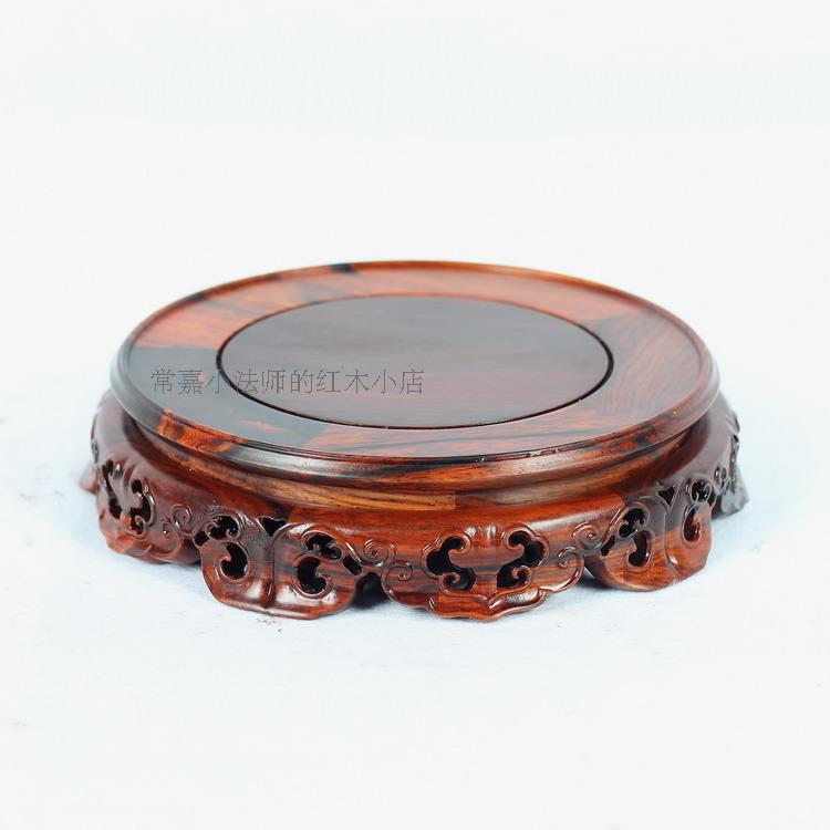 Special rosewood carving annatto handicraft circular base of real wood of Buddha stone vases, furnishing articles