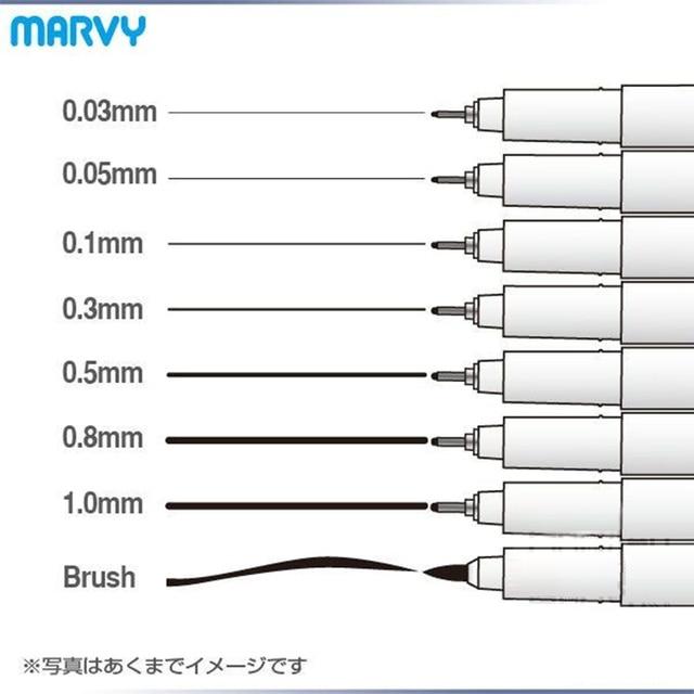 8 adet/grup Marvy sanat işaretleyici çizim ve fırça kroki astar pigment karikatür jel kalem Anime araçları kırtasiye okul kaynağı 6861