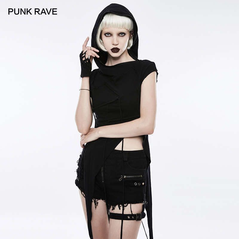 PUNK RAVE Punk Rock Slant Hat Irregular Stitching Mosaic Knit Women T shirt Cotton Short Sleeve