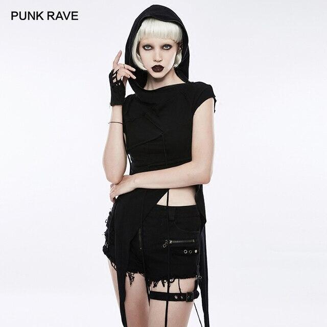 PUNK RAVE  Punk Rock Slant Hat Irregular Stitching Mosaic Knit Women T-shirt Cotton Short Sleeve Gothic Black Tops Tees