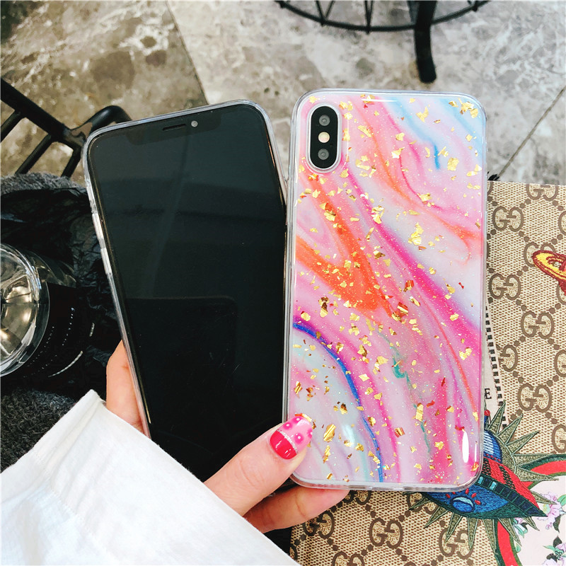 NUOCDE Glossy Marble Phone Case for iPhone X iPhone 7 6s Plus Case Gitter Epoxy Soft Back Cover for iPhone 8 Plus iPhone 6 Plus