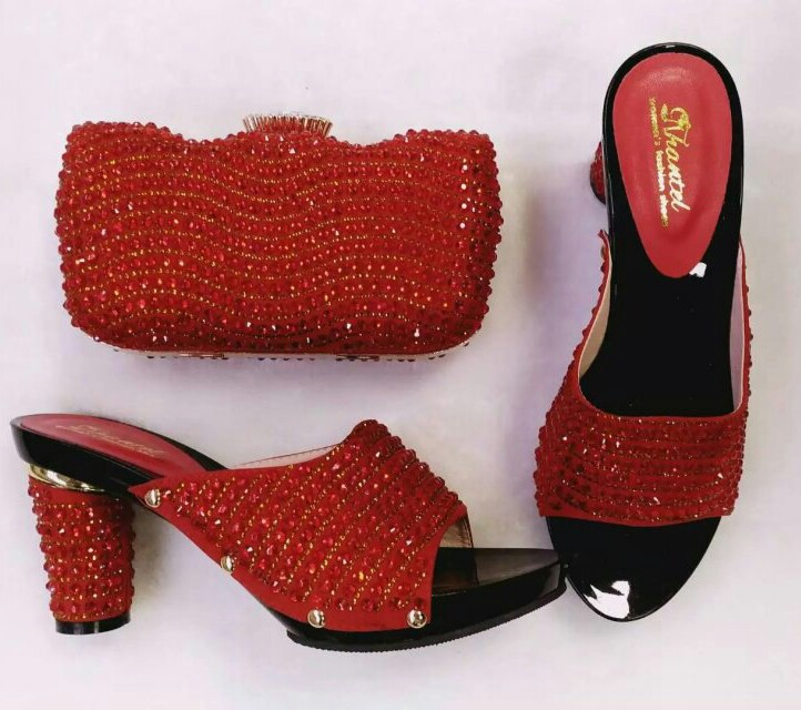 ФОТО RED Italian Shoes With Matching Bags For Party,High Quality African Shoes And Bags Set For Wedding TH02-01 Size 37-43.