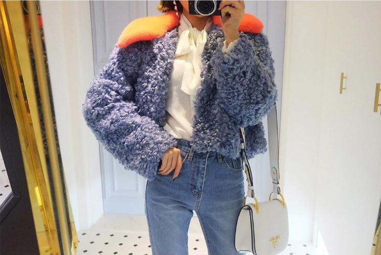 Poils De Collar Section Automne Manteaux Blue Doux Arrivée blue Vêtements Laine Orange Se Red Courte su Vestes 2019 K949 Fourrure Maigre Mouton Nouvelle hiver Femmes Chaud Collar Rose Faux q76awxnI0F