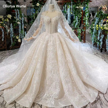 HTL475 luxury wedding dresses with wedding veil high neck long tulle sleeves button bridal gowns with train vestido de casamento(China)
