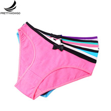 Prettywowgo Wholesale 2019 High Quality Cotton Womens Panties Briefs Women Underwear With Bow 9040