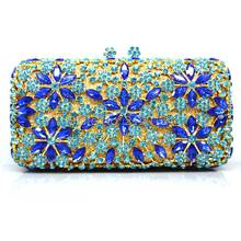 New Women Fashion Bridal Lace Day GOLD Clutch Party Wedding Dinner Evening Bags Crystal Diamonds Bridesmaid Day Clutch Purse Q50