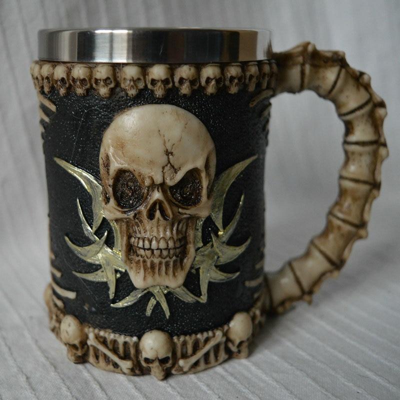 Halloween 3D Multi Skull Mug Stainless Steel Drinking Crypt Tankard Coffee Tea Bottle Mug Skull Knight