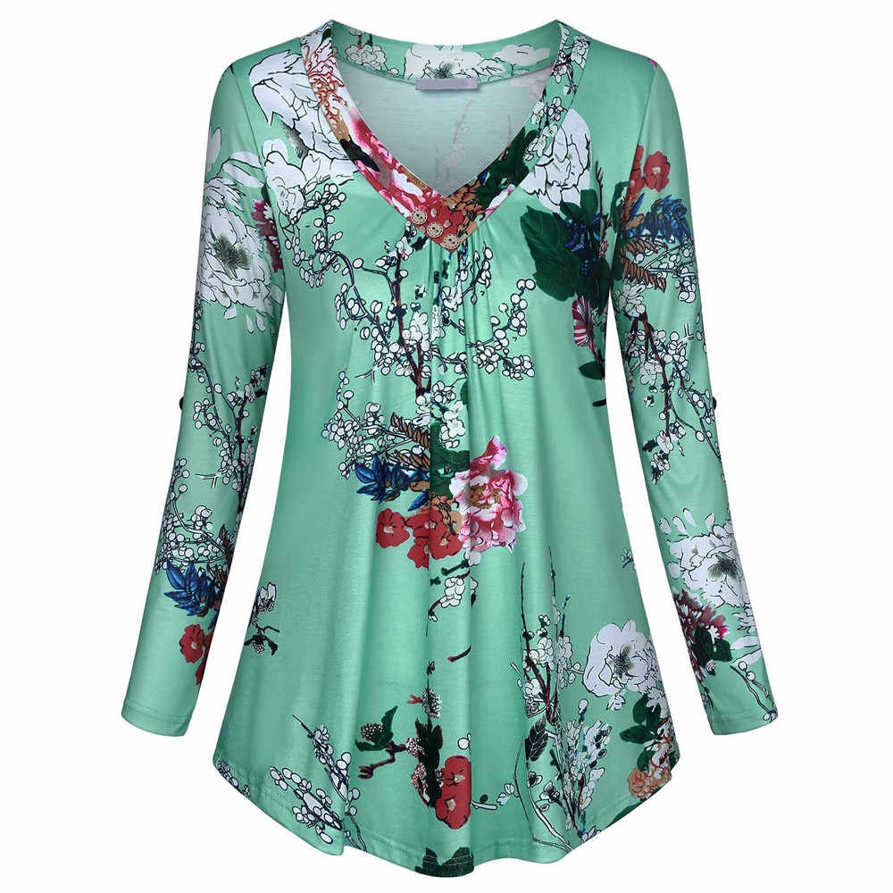 Bloemenprint V-hals Blouses En Tops Met Button Big Size Vrouwen Kleding 5XL Plus Size Vrouwen Tuniek Shirt 2019 Herfst