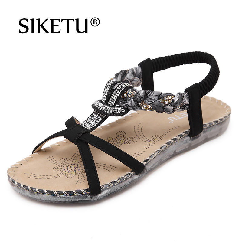 2018 New National Women Sandals Slippers Bohemia Diamond Shoes Flat Shoes Beach Sandals Summer Flip Flops Sandalias Mujer instantarts women flats emoji face smile pattern summer air mesh beach flat shoes for youth girls mujer casual light sneakers